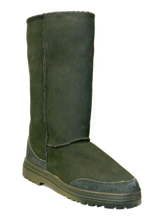 7f872907d0f Australian Made Country Leather Tall Black Sheepskin Boot with All Weather  Sole